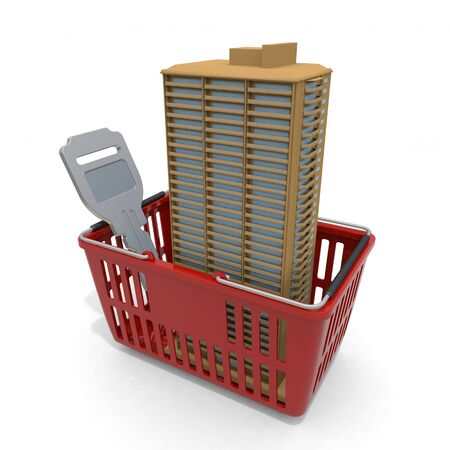3D illustration. Purchase an apartment. High-rise apartment in shopping cart. 写真素材