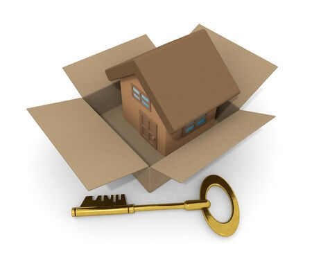 3D illustration. House in Cardboard. Purchase a new house. Gold key. 写真素材