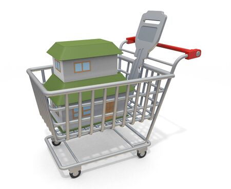3D illustration. Purchase a new house. House and key in shopping cart.