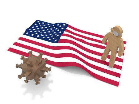 3D illustration. American flag. Virus forces expand. Prevent Disease.