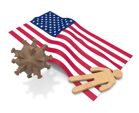 3D illustration. American flag. People die from illness. Infect the virus. 写真素材