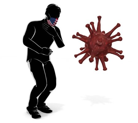 3D illustration. A person wearing an America flag mask. Get sick. Symptoms.