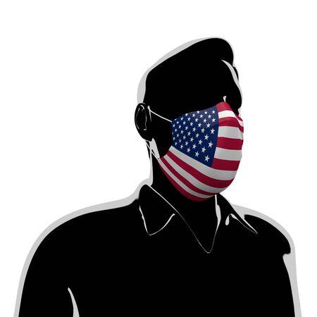 3D illustration. America flag mask. Prevent Virus Invasion. Prevent colds. 写真素材