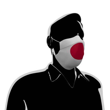 3D illustration. Japan flag mask. Prevent Virus Invasion. Prevent colds.