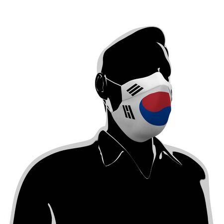 3D illustration. Korea flag mask. Prevent Virus Invasion. Prevent colds.