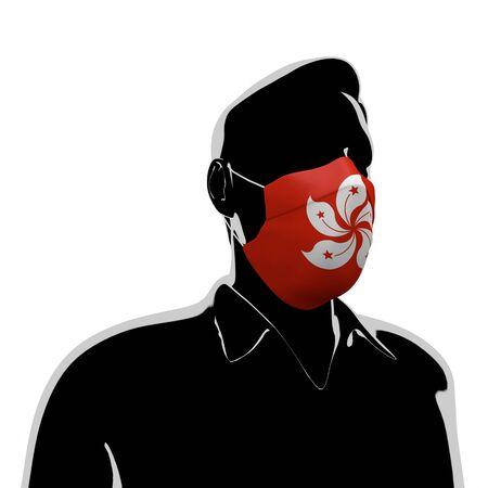 3D illustration. Hong Kong flag mask. Prevent Virus Invasion. Prevent colds.