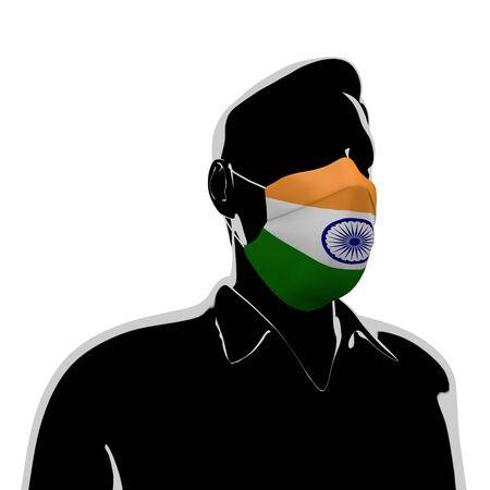 3D illustration. India flag mask. Prevent Virus Invasion. Prevent colds.