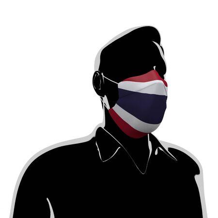 3D illustration. Thailand flag mask. Prevent Virus Invasion. Prevent colds. 写真素材