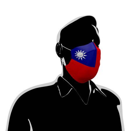 3D illustration. Taiwan flag mask. Prevent Virus Invasion. Prevent colds. 写真素材
