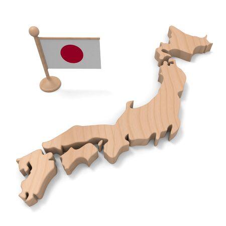 Three-dimensional Japan map. Wood texture. 3D illustration