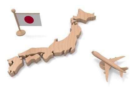 Japanese flag. Go on a trip to Japan. 3D illustration