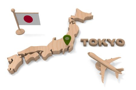 Go to Tokyo. Head to Japan on a passenger aircraft. 3D illustration 写真素材