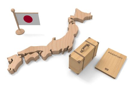 Go to Japan with Your Passport and Bag. Wood texture. 3D illustration