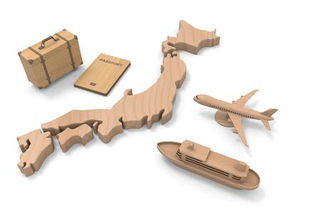 Japan and inbound consumption. Foreign Tourists. 3D illustration