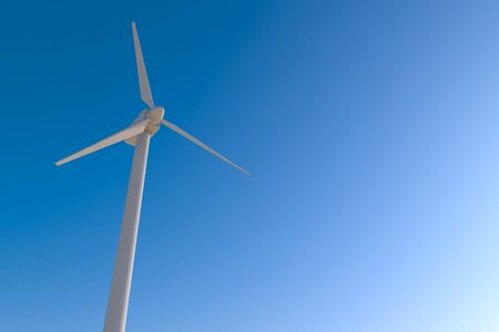 Storing Electricity with Wind Turbines. Natural energy. 3D illustration