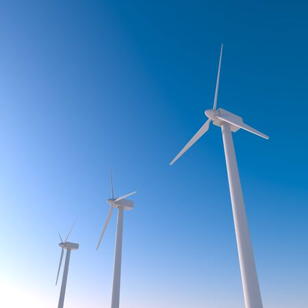 A wind turbine that rotates with the wind. Huge wind engine. 3D illustration