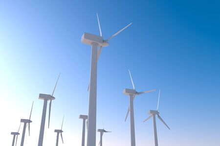 Install a lot of wind turbines. Generate Electricity with the Power of Nature. 3D illustration 写真素材