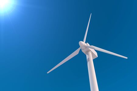 Huge wind turbine. Generate electricity with natural energy. 3D illustration 写真素材