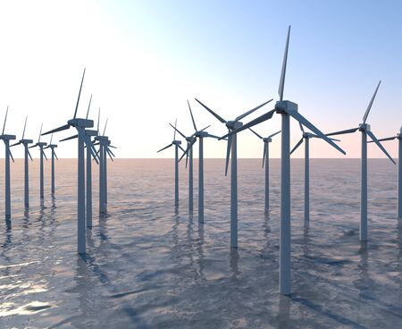 Sea Surface Wind Turbines. A propeller that rotates in response to the wind. 3D illustration