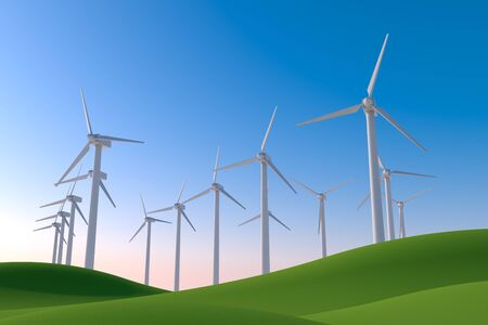 Wind Turbines in nature. Natural green and blue sky. 3D illustration 写真素材