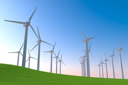 Many wind turbines spin. Operates with the power of nature. 3D illustration