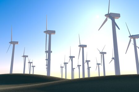 Store energy with wind turbines. Think about the natural environment. 3D illustration 写真素材
