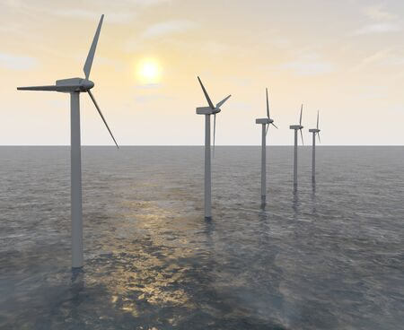 A wind turbine installed in the sea. The Propeller spins in the wind. 3D illustration