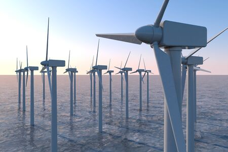 Wind Turbines above sea level. Stores energy in the wind. 3D illustration 写真素材