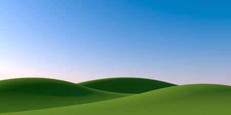 Blue sky background. Nature and Mountains. 3D illustration