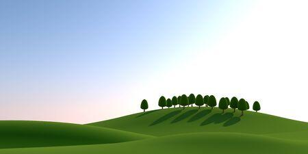 Trees and Sun. Natural landscape. 3D illustration