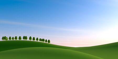 Blue sky background. Trees and nature. 3D illustration