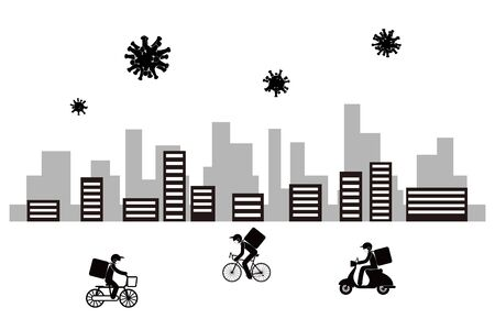 Deliver food. Coronavirus is widespread. Run by bicycle.