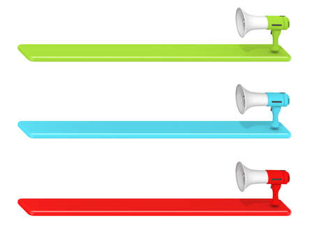 3 megaphones. Speech bubble from a megaphone. Three-color megaphone. 3D rendering Stock fotó - 154497369