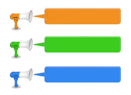 3 megaphones. Speech bubble from a megaphone. Three-color megaphone. 3D rendering