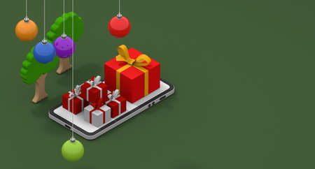 Christmas decoration. Christmas gift concept. Shop on your smartphone. Christmas image. 3D rendering
