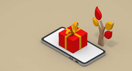 Christmas gift concept. Shop on your smartphone. Christmas image. 3D rendering