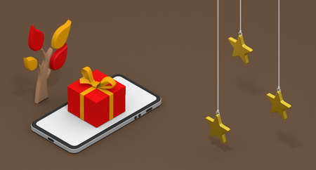 Three gold stars. Christmas gift concept. Shop on your smartphone. Christmas image. 3D rendering Stock fotó