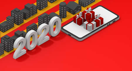 Christmas in 2020. Skyscrapers lined up. Christmas gift concept. Shop on your smartphone. 3D rendering Stock fotó