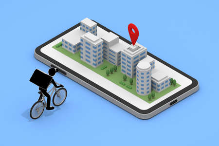 A bicycle that delivers food. Food delivery to the building area. Order food on your smartphone. 3D rendering