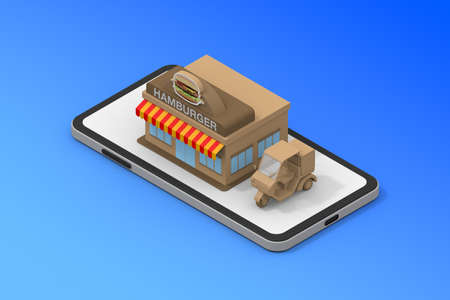 Smartphone and hamburger shop. Delivery bike. A store where you can order with your mobile phone. 3D rendering