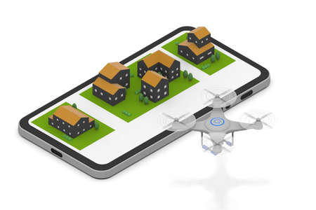 A drone is flying in a residential area. Take aerial shots with a drone. Carry your luggage with a drone. 3D rendering