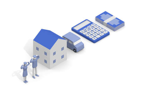 I'm worried about money. Image of debt. How a mortgage works. Calculator and repayment amount. 3D rendering