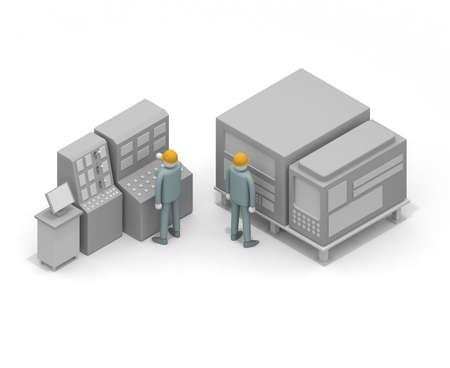 Work with a helmet on. Work with safety. A man working in a factory. 3D rendering Stock fotó