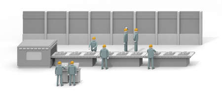 A person who works in a production factory. Learn how to operate the machine. Make sure you are safe and work. Automated assembly line work. 3D rendering Stock fotó