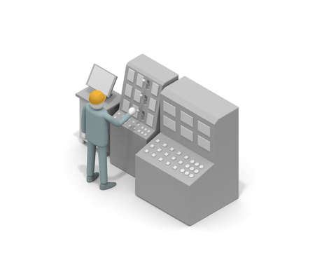 A person who works in a factory. Operate the machine. Make precision equipment. The person who checks the machine. 3D rendering