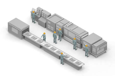 Work in the manufacturing industry. Remember the job. The person who operates the machine. Assembly line work in the factory. 3D rendering Stock fotó