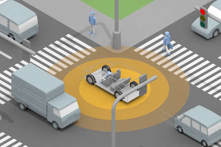 It runs automatically. Autonomous driving at intersections. Slow down while driving. A person who does not drive. 3D rendering