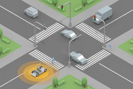 Determined automatically. The traffic light is red so it stops. Drive in automatic driving mode. Recognize pedestrians. 3D rendering Stock fotó