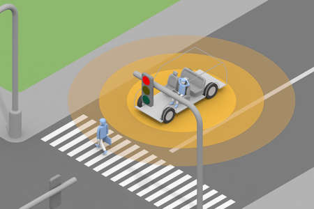 Drive in automatic driving mode. Recognize pedestrians. The car stops. The traffic light is red so it stops. 3D rendering Stock fotó