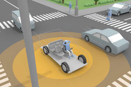 A car that supports autonomous driving. Relax while driving. Run while checking the cars around you. AI for self-driving cars. 3D rendering Stock fotó